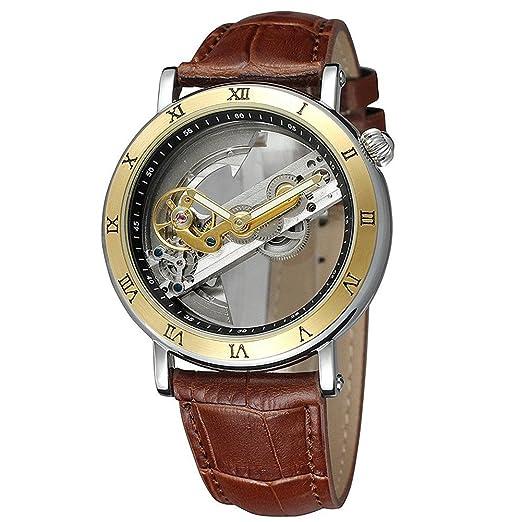 Forsining Hombres de números romanos acero inoxidable Auto mecánico reloj de pulsera banda de cuero: Amazon.es: Relojes