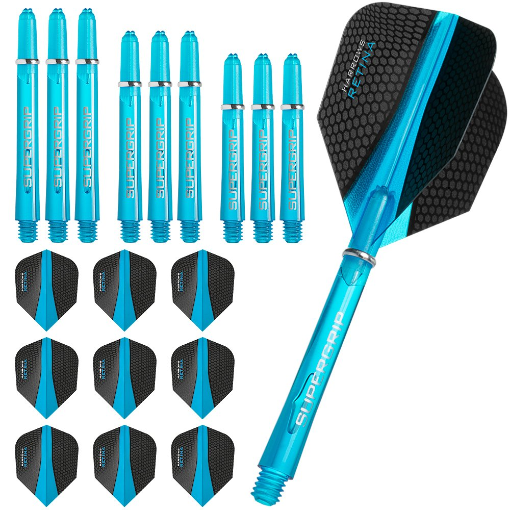 Harrows Retina - Flights and Shafts Combo Kit - 3 Sets (9) Standard Flights - 3 Sets Supergrip Shafts - Aqua Blue by Harrows Y1011