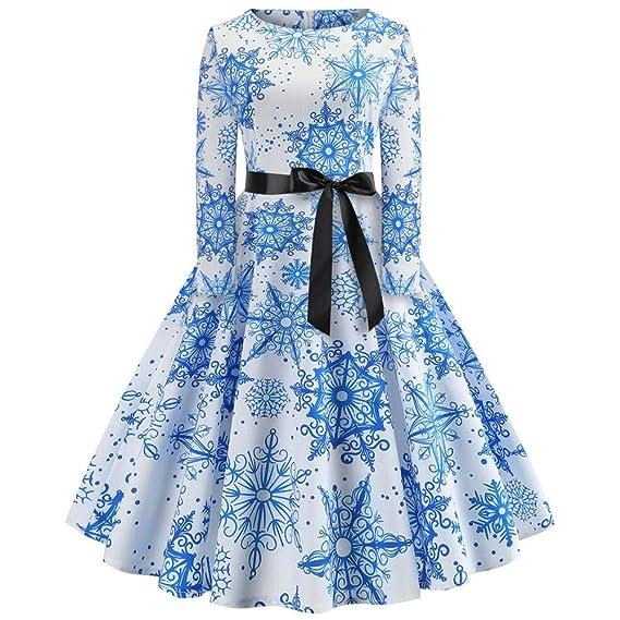 Vestidos Mujeres Elegante Rovinci Vintage Navidad Vestido Boho Midi Vestido de Manga Larga Moda Casual para
