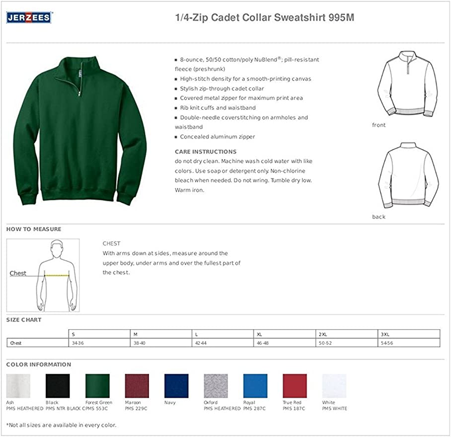 -VINTAGE HTR NAVY-S 50//50 NuBlend Quarter-Zip Cadet Collar Sweatshirt 995M Jerzees mens 8 oz