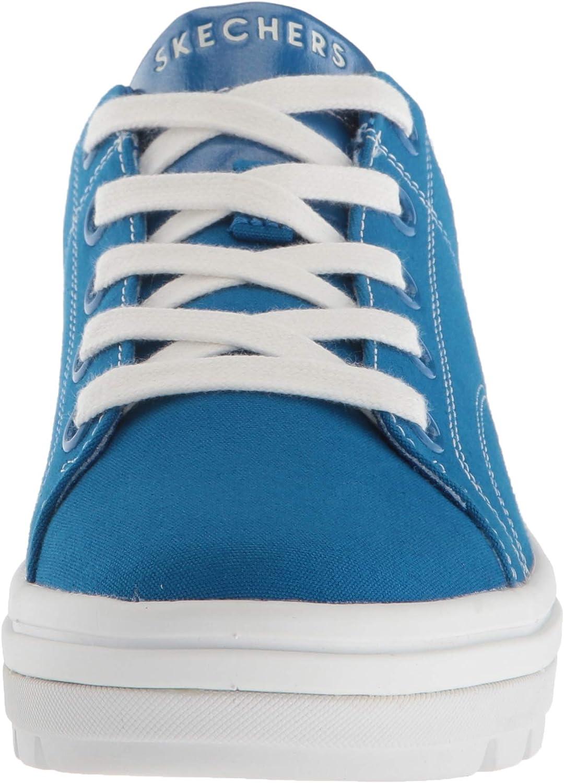 Skechers Street Cleat. Canvas Contrast Stitch Lace Up Sneaker, Tennis Femme Bleu