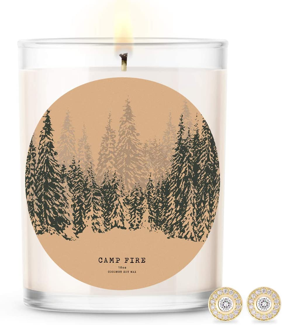 Kate Bissett Baubles Camp Fire Scented Premium Candle and Jewelry with Surprise Earring Inside | 18 oz Large Candle | Fall Collection | Made in The USA | Parrafin Free Earring