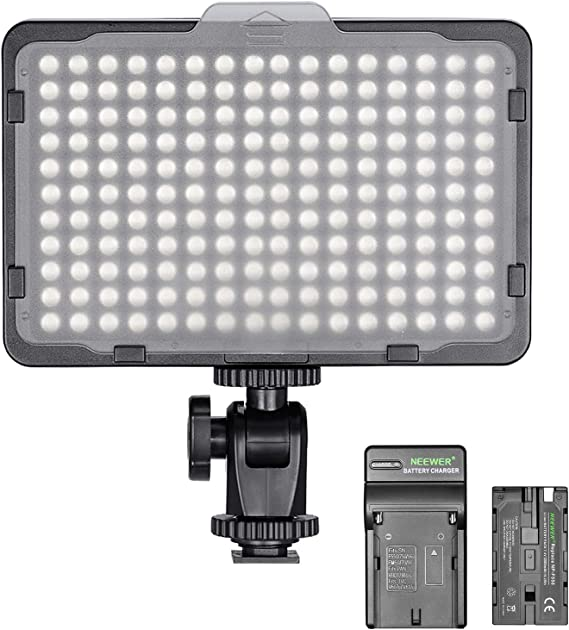 Neewer Dimmable 176 LED Video Light on Camera LED Panel with 2200mAh Li-ion Battery and Charger for Canon