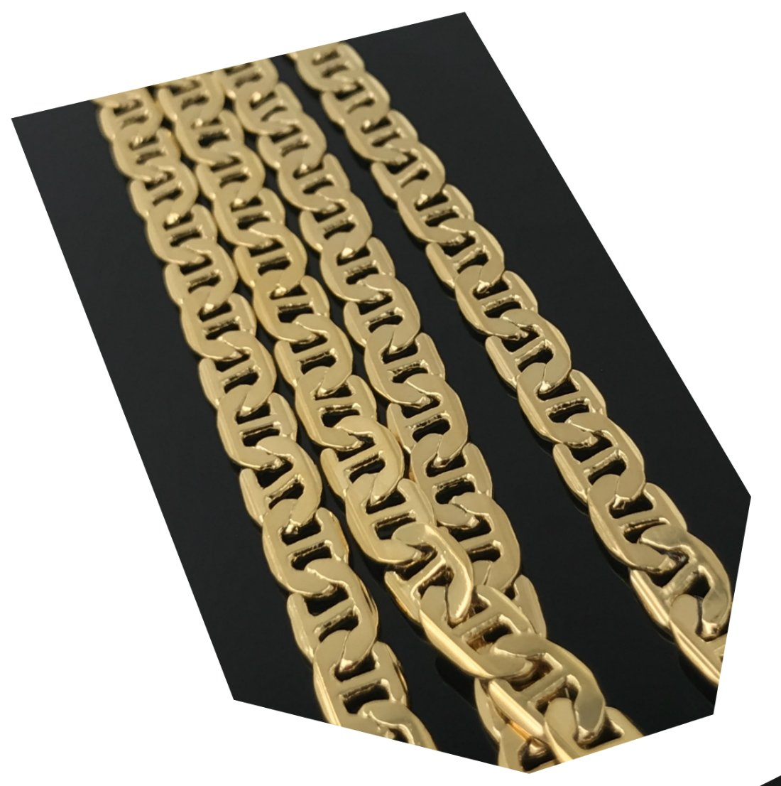Gold chain necklace 8MM 18K Diamond cut Smooth Marina Chain with a Warrantied, USA made! (27)