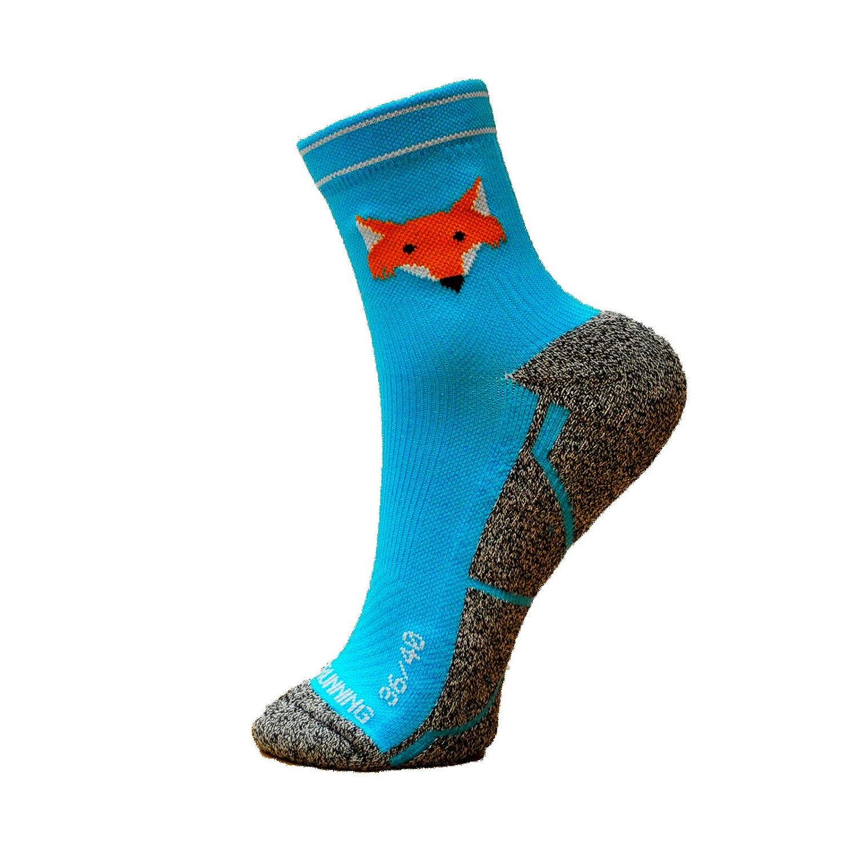 Chaussettes Running Fox Blue, Hommes, Femme, Drôle, sans Couture, Thermique, Bleu, FoxBlue, Tailles 36-45