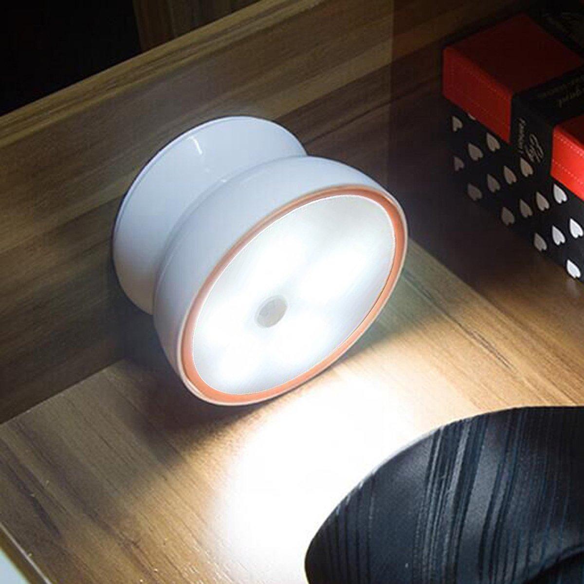 360 °回転センサー夜間ライトバッテリーPowered motion-activated LEDライトwith Back粘着磁気接続スティックオンforキッチン階段パスwashroom-white MON-MSNL01CW B01L3ZNLJC 18480 ホワイト ホワイト