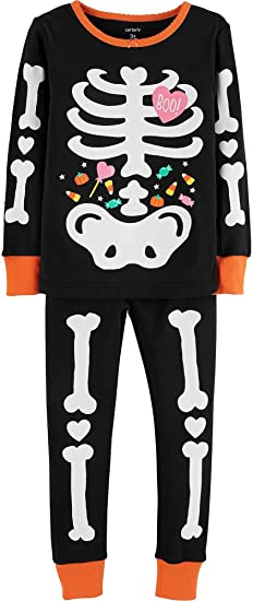 00963f002 Carter s Toddler Girls Glow-in-The-Dark Skeleton Pajama Set  Amazon ...