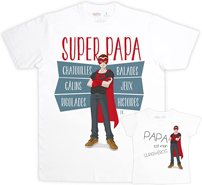 900175fb rigolobo Super Dad - Gift père-Fille T-Shirt: Amazon.co.uk: Clothing