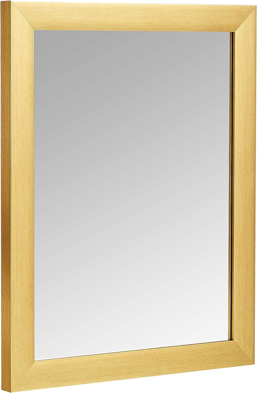 "AmazonBasics Rectangular Wall Mirror 16"" x 20"" - Standard Trim, Brass"