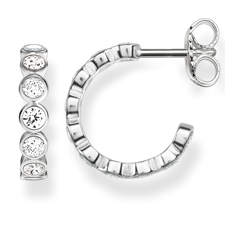 21fd222c0 Thomas Sabo Women-Hinged Hoops Glam & Soul 925 Sterling Silver Zirconia  white CR595-051-14: Amazon.co.uk: Jewellery