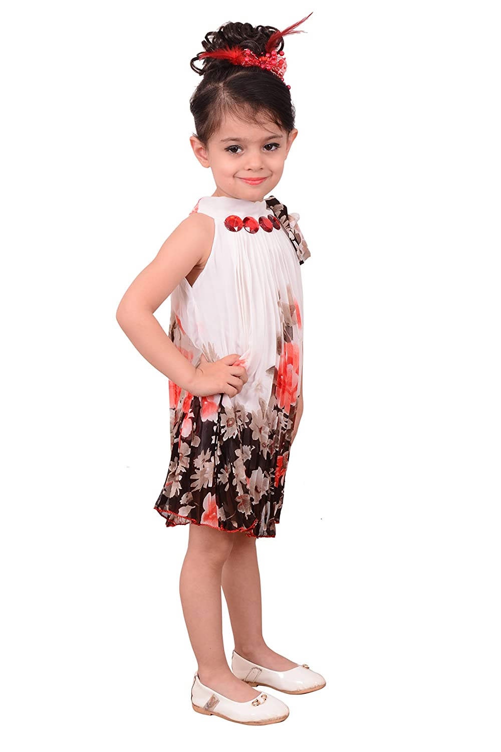 b0288b73beb BEBO 21 Party wear Baby Girls Frock Dress (WHT51B White 6-7 Years)  Amazon. in  Clothing   Accessories