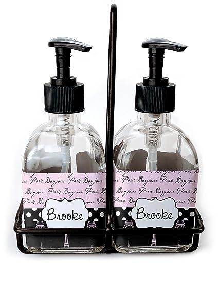 París Bonjour y torre Eiffel juego de jabón y dispensador de loción (cristal) (