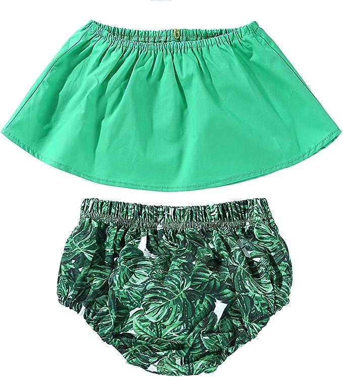 Miwear Baby Girls Summer Outfits Off Shoulder Crop Top Leaves Bottom Shorts Swimsuit Beachwear