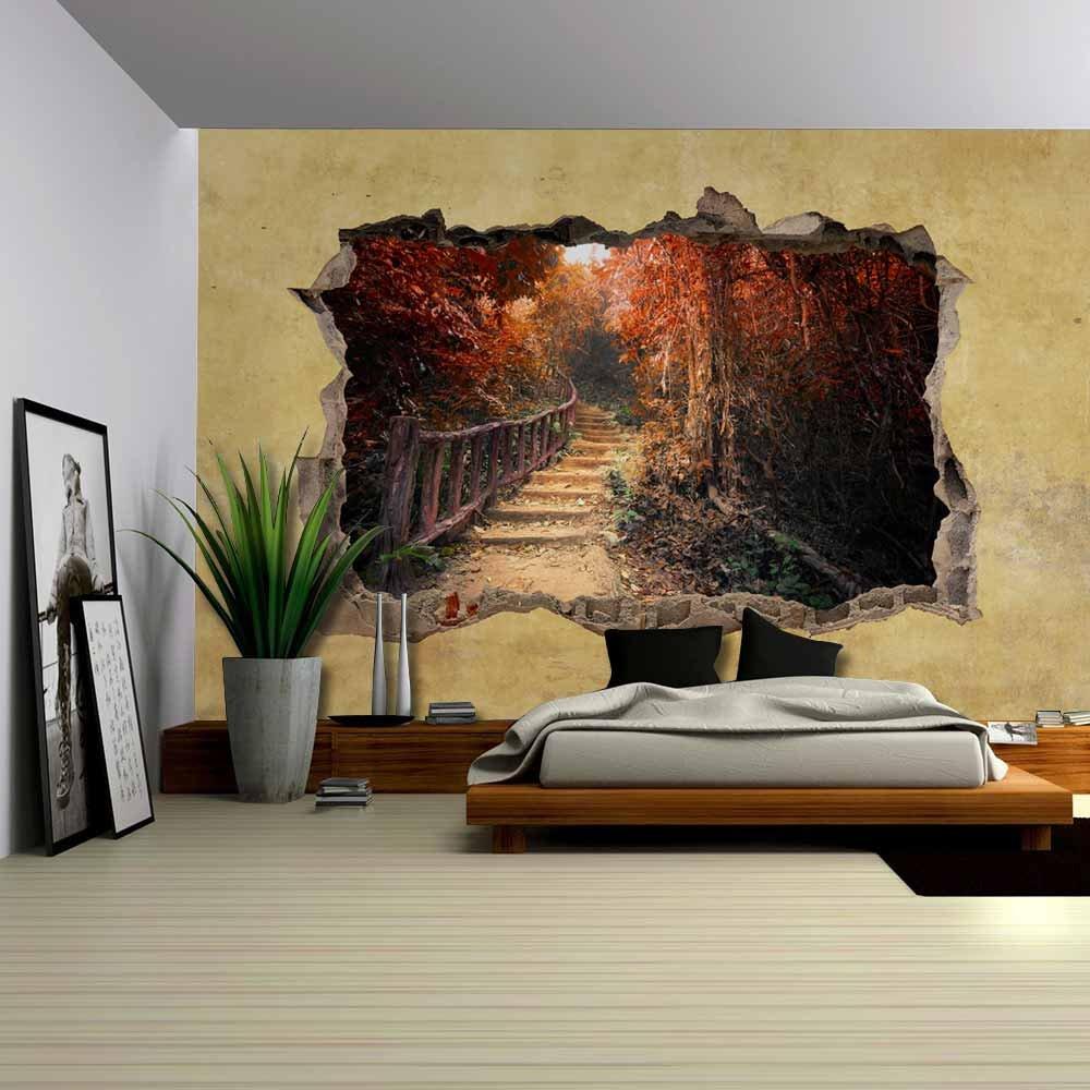 Beautiful Autumn View Viewed through a Broken Wall Large Wall Mural
