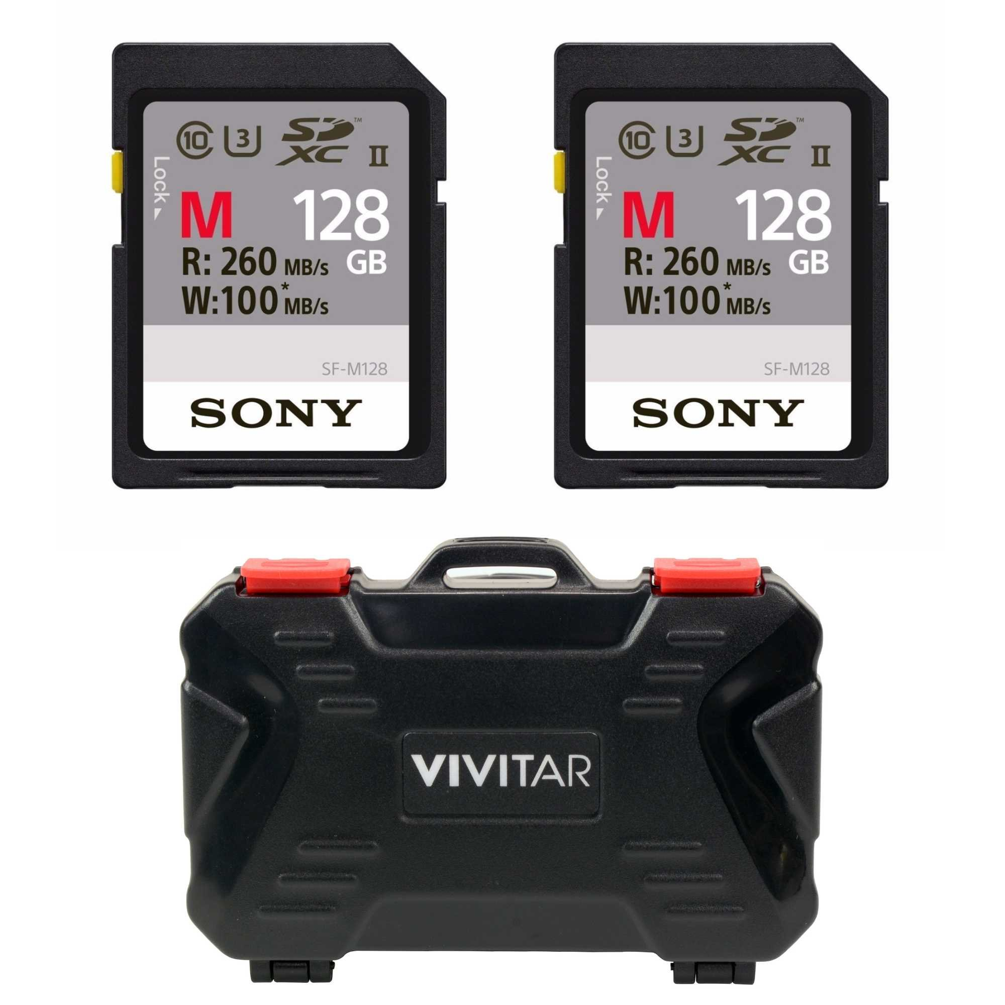 Sony M Series UHS-II SDXC Memory Card (U3) 2-Pack with Versatile Memory Card Holder (128GB 2-Pack)