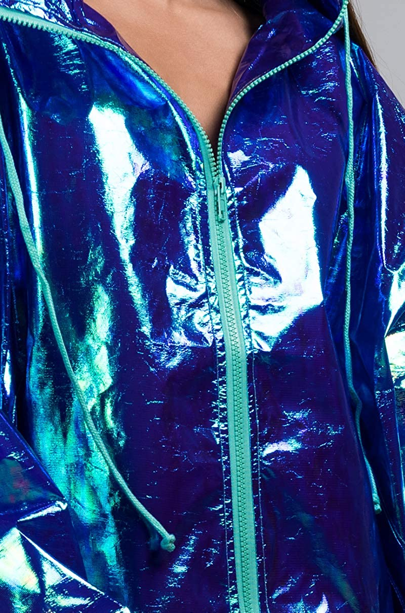 ad400a863e69 Amazon.com  AKIRA Women s Iridescent Shiny Hologram Hooded Zip Front Party  Rain Jacket Coat-Blue M L  Clothing