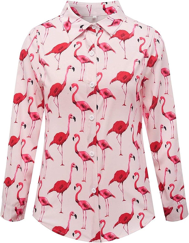 YUFAA Moda para Mujer Elegante Cierre de botón Cuello Cierre Flamingo Estampado Camisa Blusa Blouse (Color : Rosado, Size : S): Amazon.es: Ropa y accesorios