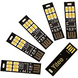 Yitee 5pcs USB Light Keychain Super Bright 6 LEDs Mini USB Light Lamp with Smart Touch Electrodeless Dimming Switch For Lapto