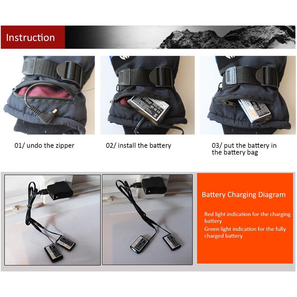 Per 7.4V Guantes Calefactables USB para Hombres y Mujeres Manoplas para Moto Esqu/í Guantes de Calefacci/ón Accesorios T/érmicos de Invierno