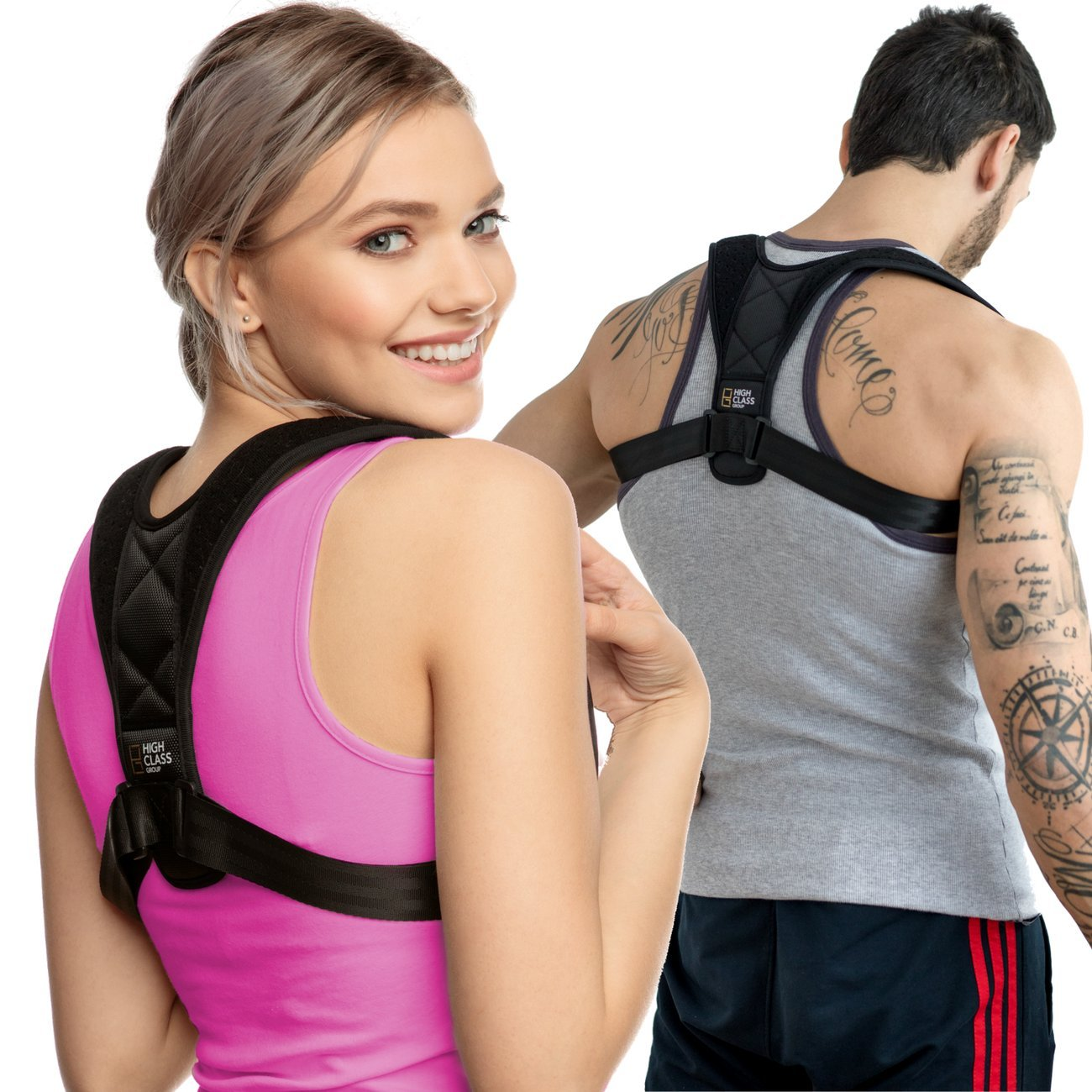 High Class Group | Posture Corrector for Women - Men | Relieves your Back Pain and Retrains Shoulders | Adjustable Strap Made of Soft Breathable Neoprene for Extra Comfort | Back Brace for Upper Back by High Class Group