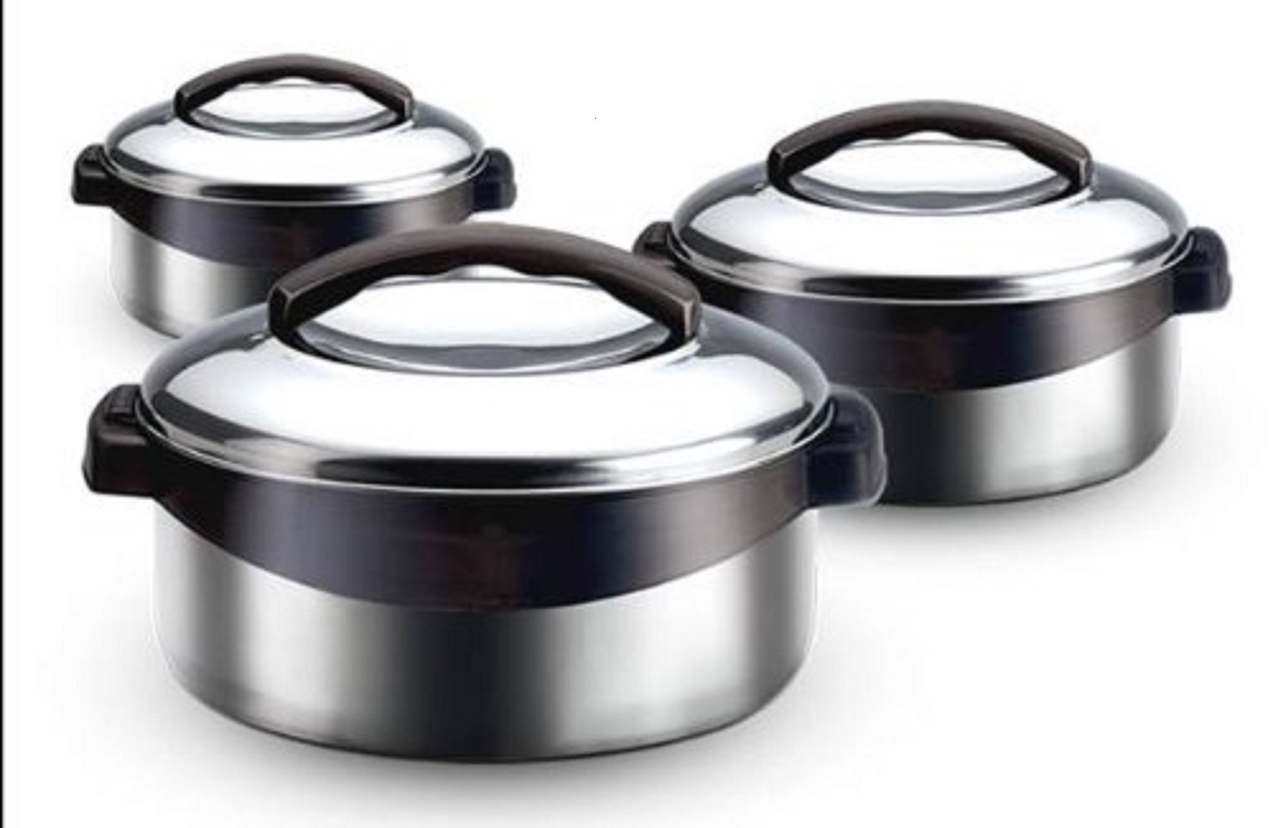 Milton Regent Hot Pot 3 piece Insulated Casserole Gift Set Keep Warm/Cold Upto 4-6 Hours, Stainless Steel by Milton