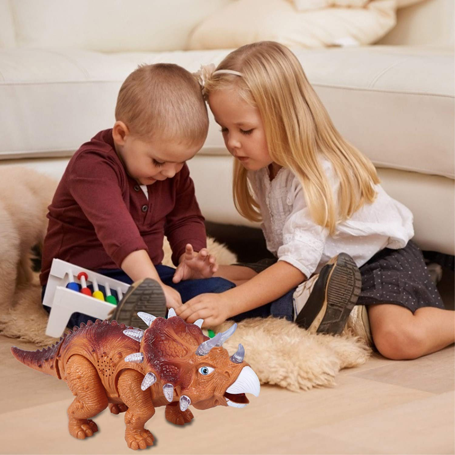 WomToy Walking Dinosaur Toys, Triceratops Dinosaur Toy Figure for Boys & Girls for Kids with Amazing Roar Sounds, Lights & Movement by WomToy (Image #5)
