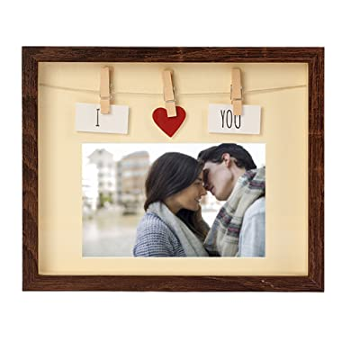 Picture Frames 4x6 With Mat - MDF Wood & Glass Pane, Complete With Red Heart & Card & Clothes Line & Pin, For Couples, Family, Friends Photo, Cute Fun Box Photo Frame 4 x 6