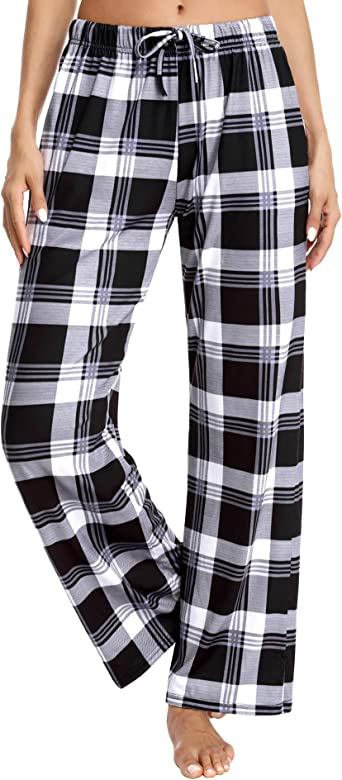 Aibrou Pantalones De Pijama Mujer Pijama Pantalon Largo Mujer De Cuadros Invierno Suelte Pantalon De Pijama Pijama Pantalones Mujer De Algodon Cordon Para Hogar Ocio Deportes Correr Y Yoga Amazon Es Ropa Y