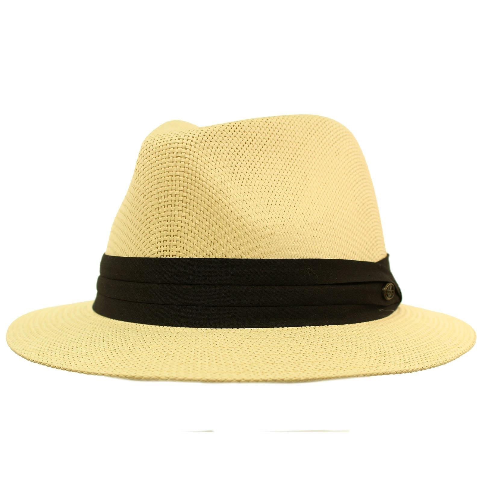 Men's Summer Lightweight Short Panama Derby Fedora Flat Brim Hat L/XL