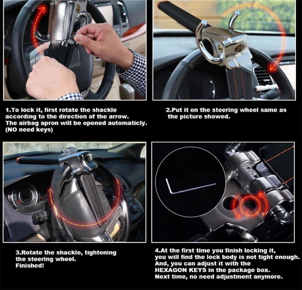 Jingbo Universal Auto Lenkradschloss Auto Diebstahlsicherung Mit Schlüssel Anti Diebstahl Geräte Faltbare Fahrzeugschloss Für Auto Sport Freizeit