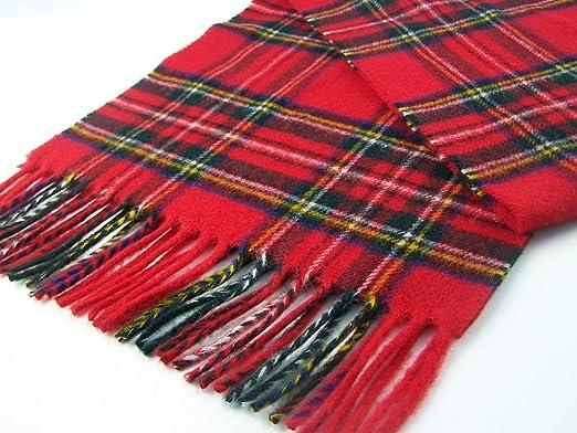 100/% lambswool Tartan Scarf Royal Stewart Men//Women Tartan Scarf