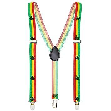 5b9652fdff Amakando Elásticos Reggae Tirantes Jamaica Elementos de sujeción Pantalones  con Forma Y Accesorio Disfraz Rastafari Sujeciones Hippies Sujeciones  cáñamo ...