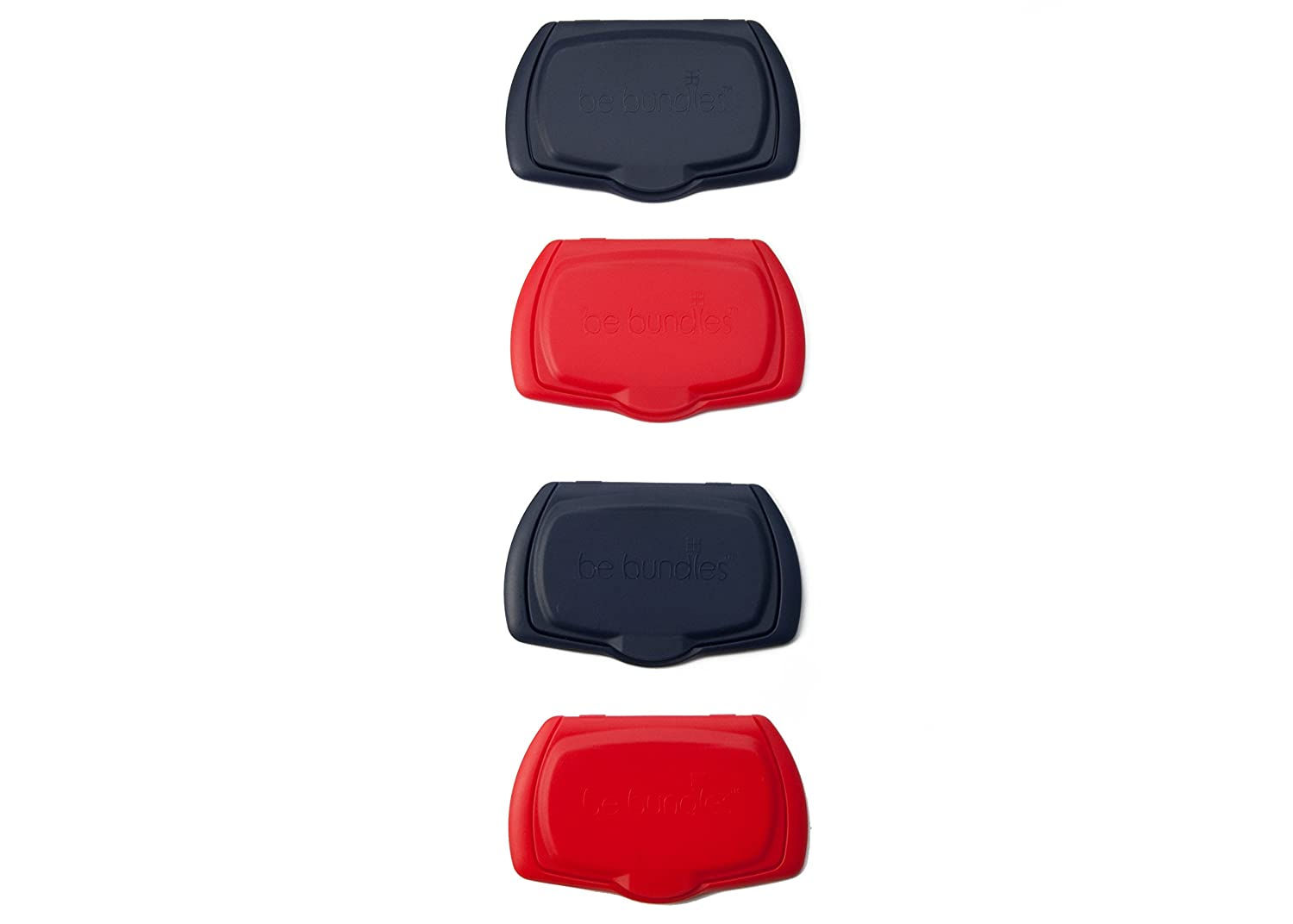 Be Bundles Snap Flip Lid, 4-Pack, Navy (2) / Red (2) - Add or Replace Your Wet Wipes Lid