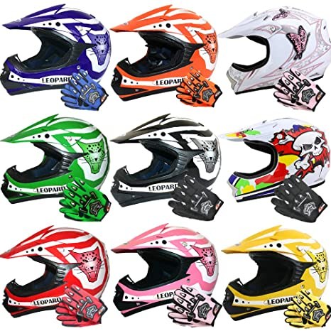 55cm + Handschuhe XL-8cm Brille} Kinder Motorradhelm Full Face MX Helmet M/ädchen Jungen Dirt Bike Leopard LEO-X19 {Gr/ün Kinder Motorrad Helm XL