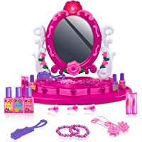 UNIH Kids Vanity Set with Mirror for Little Girls 3+, Toddler Makeup Pretend Playset Table with Light Music for Child…