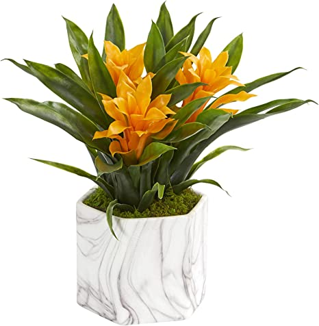 Amazon Com Nearly Natural Bromeliad Artificial Marble Finished Vase Silk Plants Yellow Furniture Decor