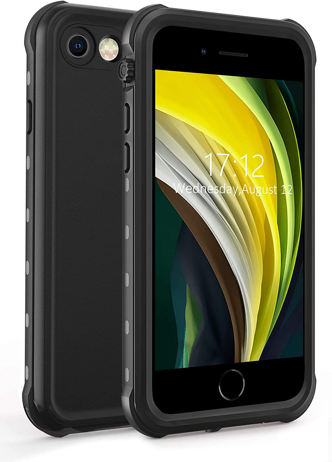 IBELIEF iPhone SE 2020 Waterproof Case,iPhone 7/8 Waterproof Case with Built-in Screen Protector, Full-Body Shockproof Dirtproof Heavy Duty Cover for iPhone SE 2020/7/8 4.7 inch. (Black)