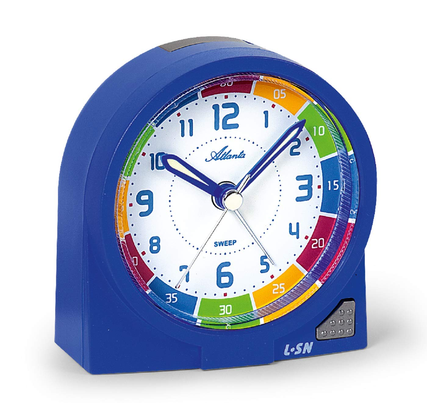Atlanta Children's Alarm Clock Blue for Boys Analogue Quartz - 1937-5 1937/5