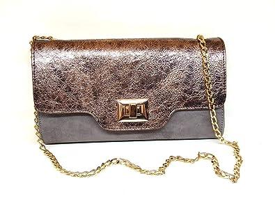 Gennia EX325 - Genuine Leather handbags for Women, Leather Metal Urbino Magnesio-Leather Suede