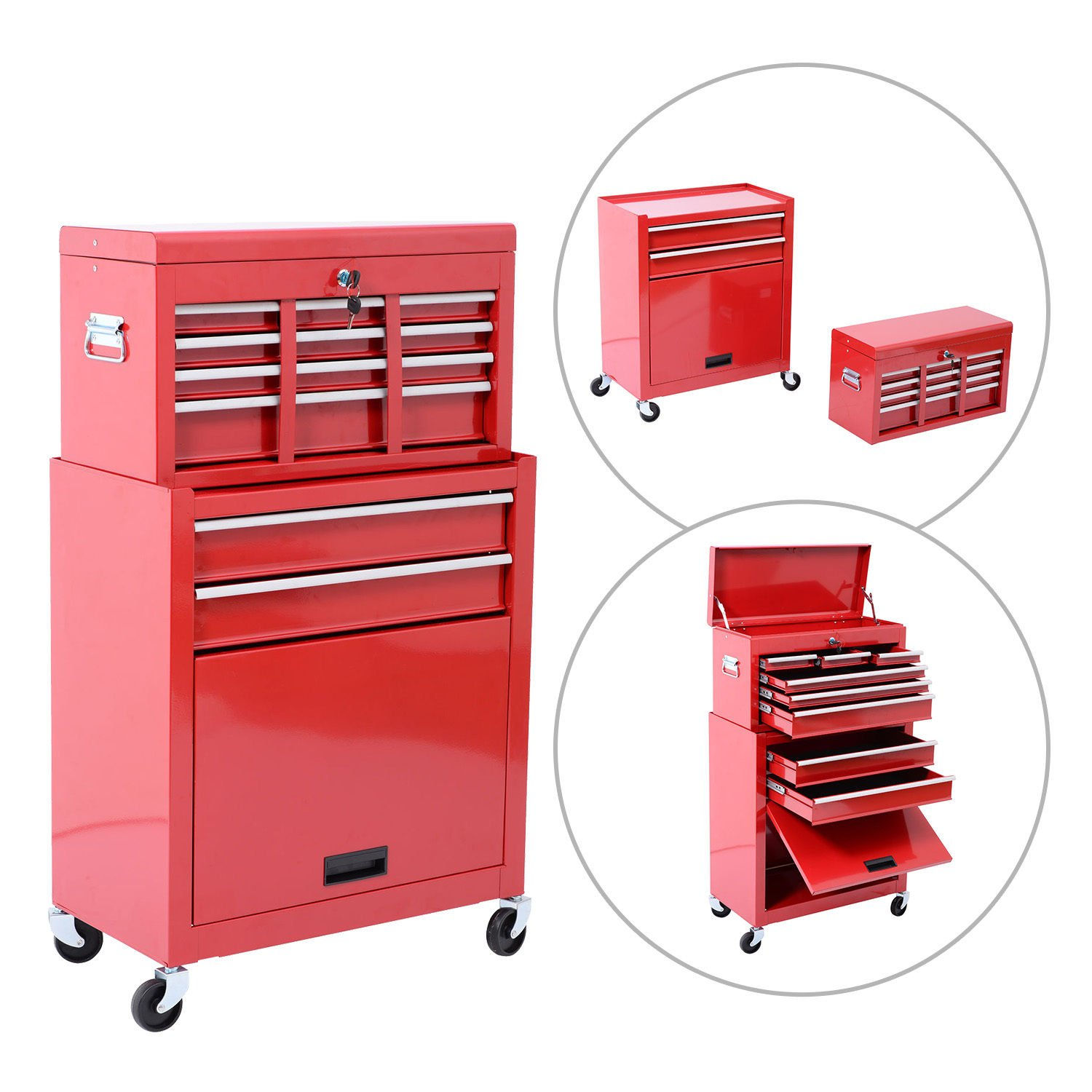 HomCom Rolling Tool Cabinet with 6 Drawer and Removable Tool Box - Red by HOMCOM