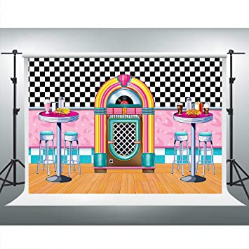 Soda Shop Diner Backdrop For Rockin 50s Party 1950s Sock Hop Background 7x5ft Party Decorations Photo Booth Studio Props Lsvv901