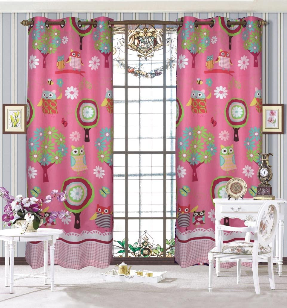 Mk Collection Bedspread Teens/girls Owl Pink 2 Panel Curtain New