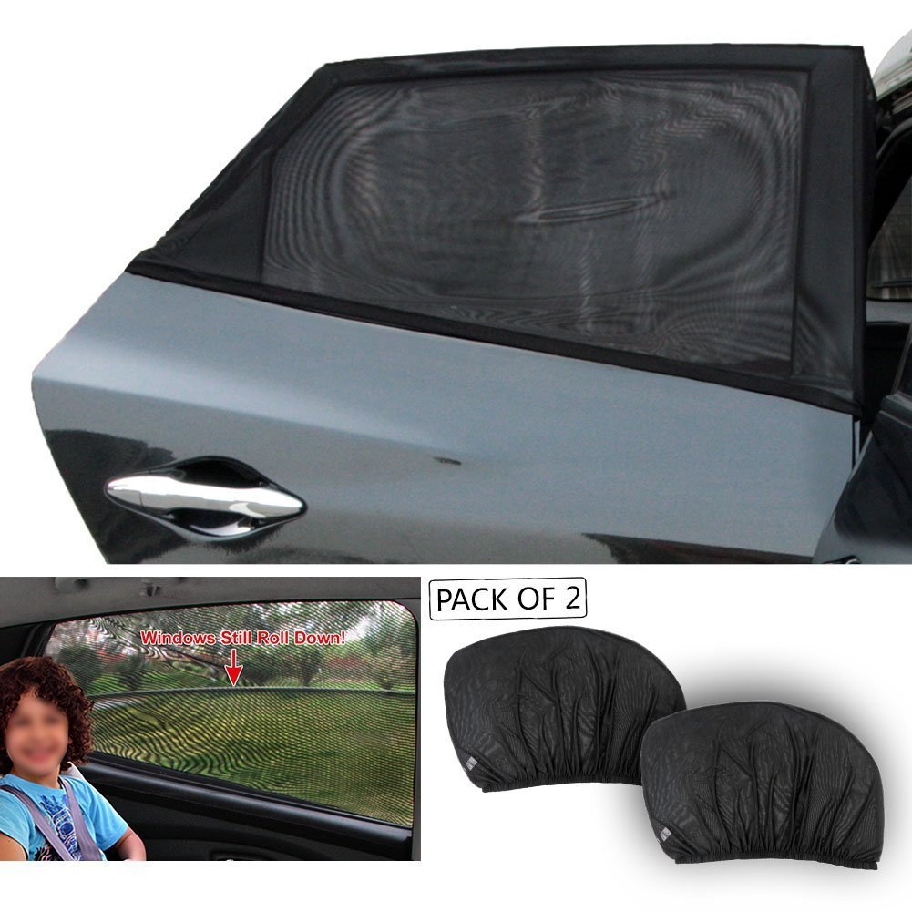 Folconroad 2 x Car Side Rear Window Sun Visor Shade Mesh Cover Shield Sunshade UV Protector