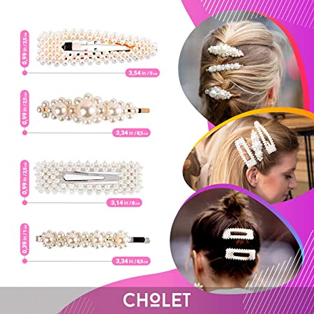 Pearl Hair Clicker Snap Clips Slide