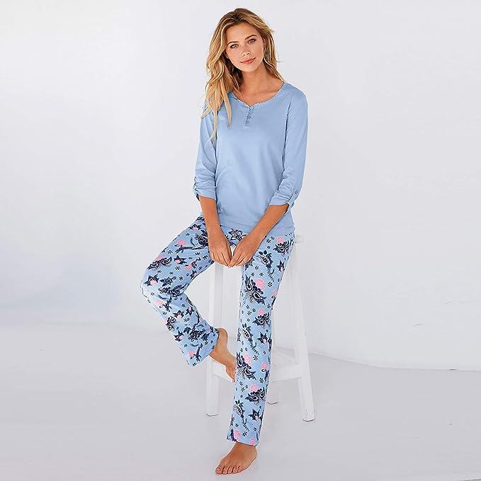 80dca2ad520 Pijama Camiseta Lisa con Escote Redondeado by Vencastyle