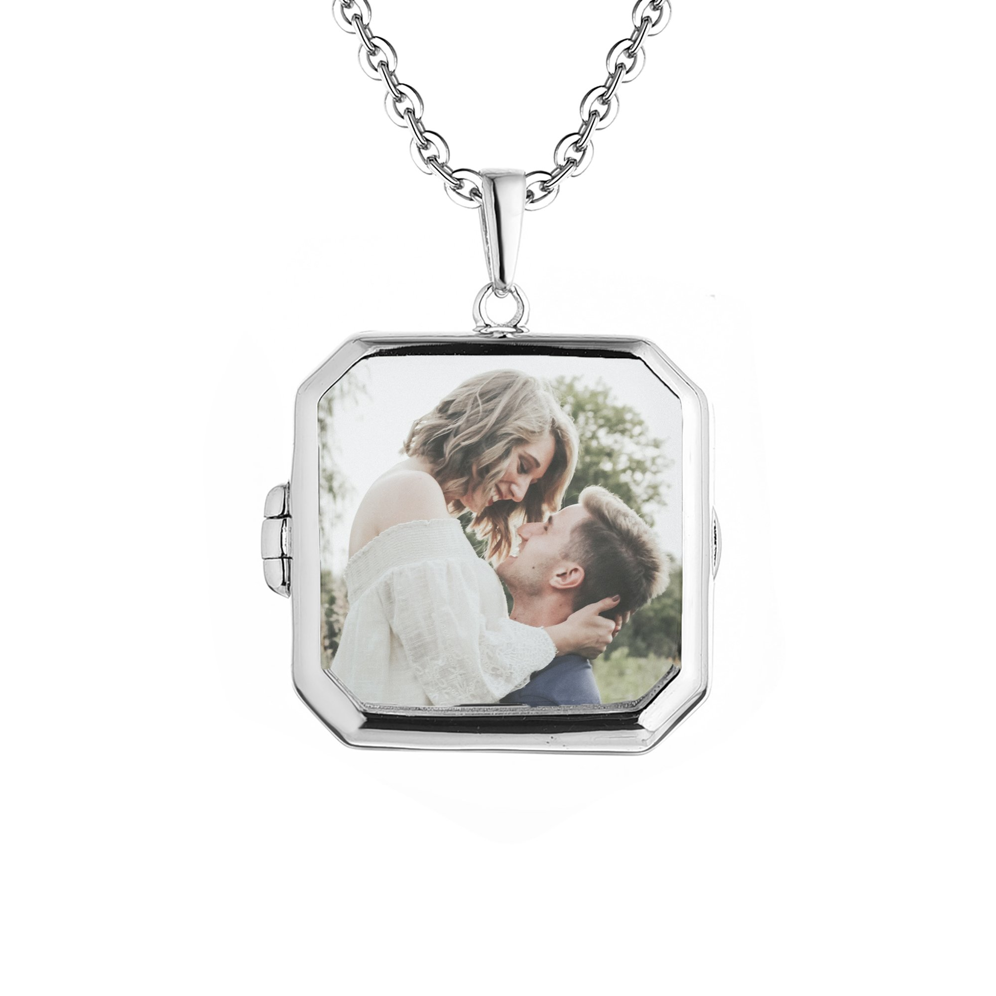 With You Lockets Sterling Silver-Square Custom Photo Locket Necklace-36-inch chain-The Billie
