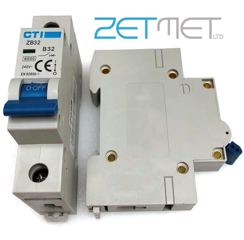CTI ZB32 32 Amp Type B Single Pole 240V 6kA Miniature Circuit Breaker MCB Red Arrow