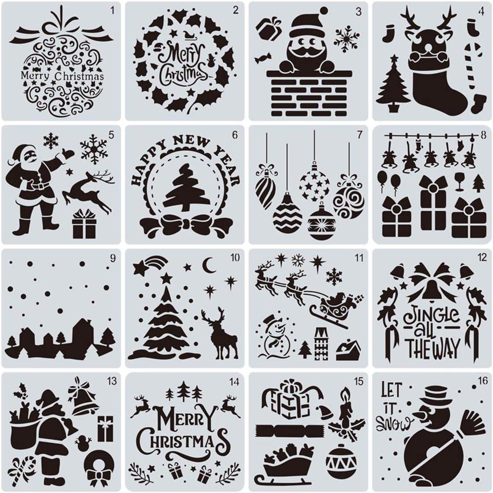 Christmas Stencils Xmas Craft Painting Template,Merry Chrismas,Snowflakes,Trees,Santa Claus DIY Drawing Stencil Painting and Drawing Template for Wood Slice Gift Card Floor Wall 6x6 Inch LYPER 16Pcs