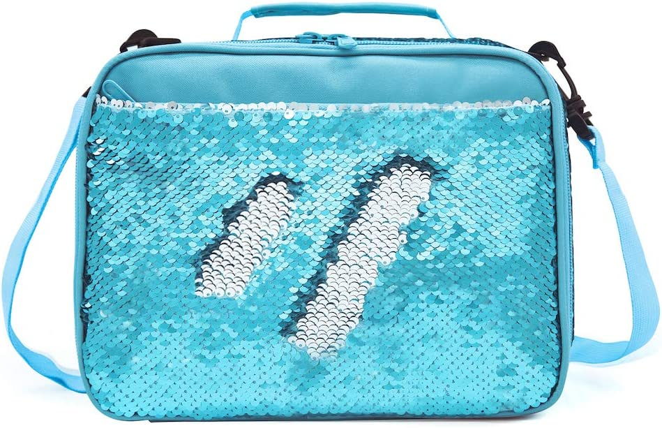 Sequence Lunch Box for Boys Girls Flip Sequin Insulated School Lunch Bag Durable Thermal Reusable Lunch Tote Glitter (Crystal Blue)