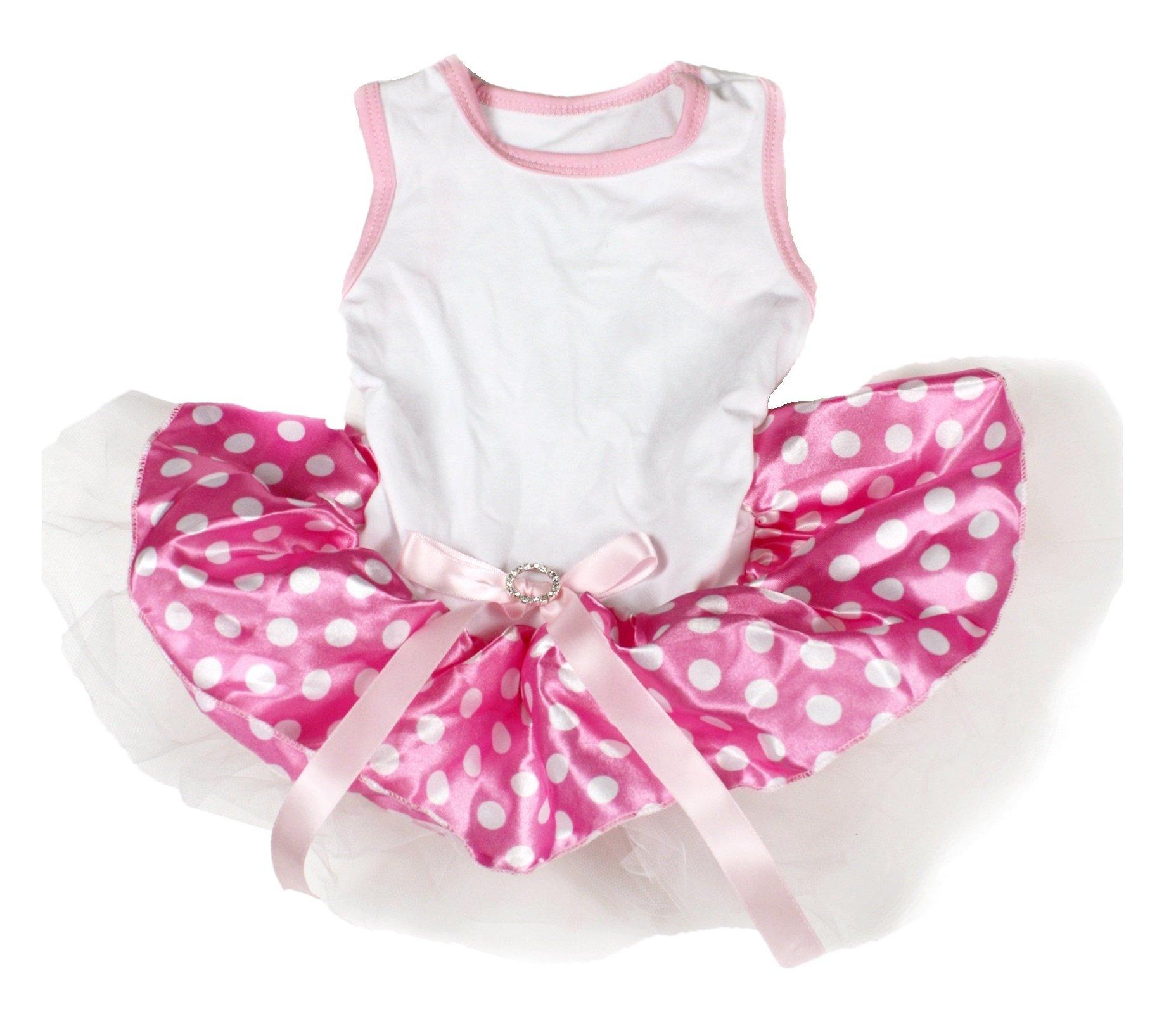Puppy Clothes Dog Dress White Cotton Top Pink White Polka Dots Tutu Animal Wear (Medium)
